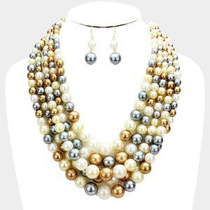 White and Multicolored 5row Strand Pearl Necklace